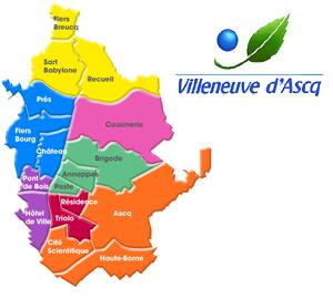 Zone de desserte de Taxi Flandres sur Villeneuve d'Ascq
